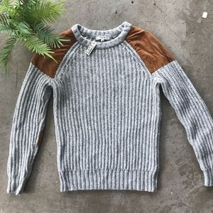 Madewell   Suede Elbow Patch Sweater